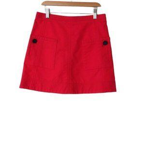 10 Crosby Derek Lam A-Line Red Mini Skirt